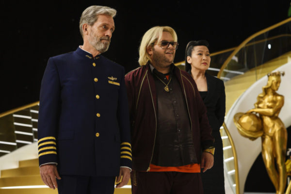 Avenue 5 - Hugh Laurie, Josh Gad, and Suzy Nakamura - picture courtesy of HBO