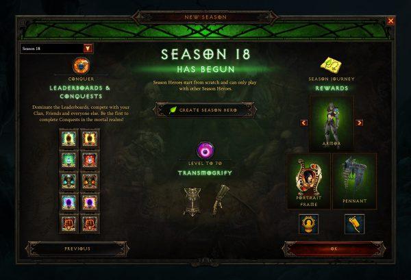Diablo 3 Triune Season 18 Rewards Screen