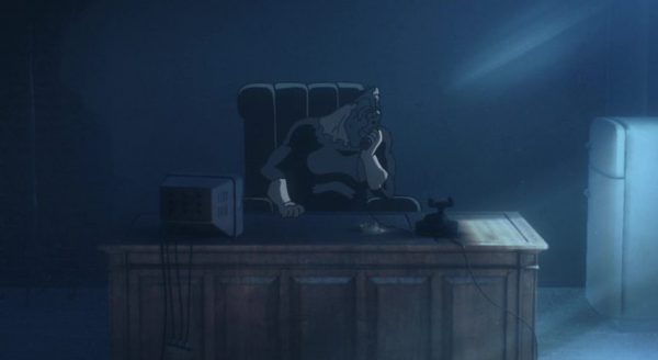 No Guns Life Anime Episode Review - 01-01 Juuno takes a call in his office